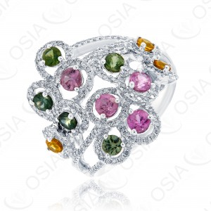 18 KARAT DIAMOND AND GEMSTONE RING